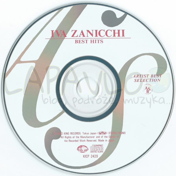 Iva Zanicchi – Best Hits (Japan, 1993, Seven Seas, KICP 2429) – CD Disc