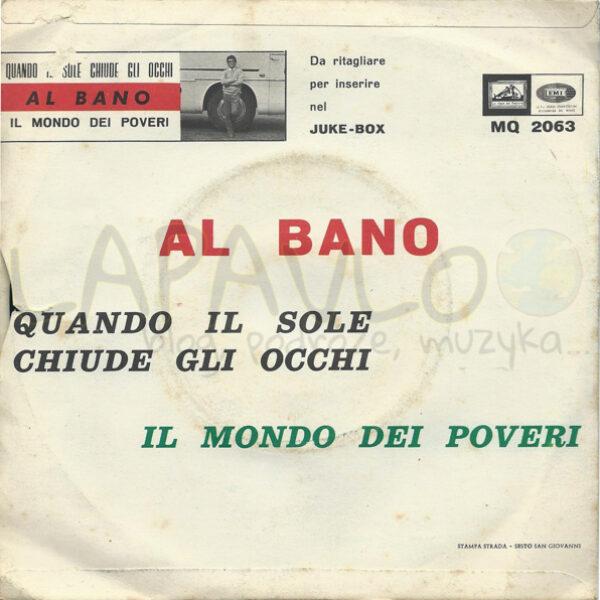 Al Bano – Quando Il Sole Chiude Gli Occhi (Italy, 1966, La Voce Del Padrone, MQ 2063) – Back cover